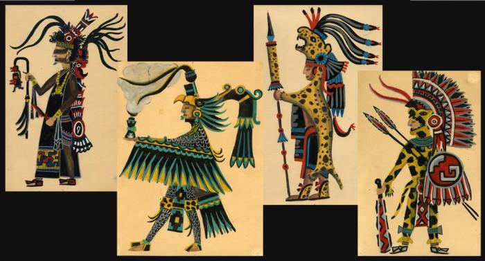 Aztèques. Gouache alain Gallay
