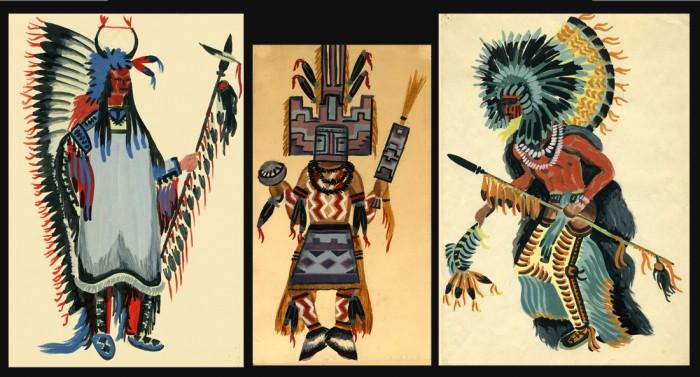 Indiens d'Amérique du Nord. Gouaches Alain Gallay