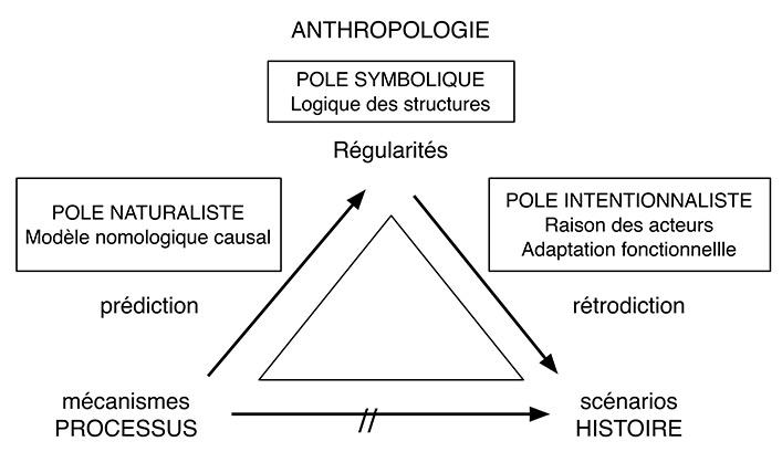 Figure. Position des trois pôles des sciences humaines par rapport à l'opposition entre science et histoire. Ce schéma permet d'intégrer les diverses modalités de l'interpréttion proposées en ethnologie, sociologie et en histoire avec par exemple Durkheim pour le pôle naturaliste, Lévi-Strauss pour le pôle symbolique, Leroi-Gourhan et Malinowski pour le pôle intentionnaliste-fonctionnaliste.
