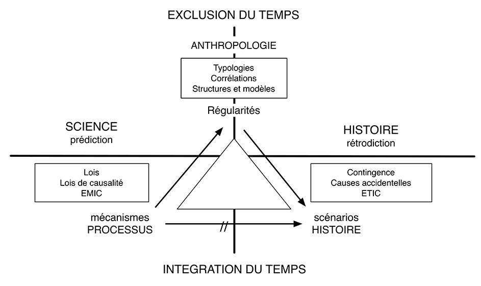 Figure. Les principaux types d'explications selon l'opposition mécanismes - scénarios - régularités
