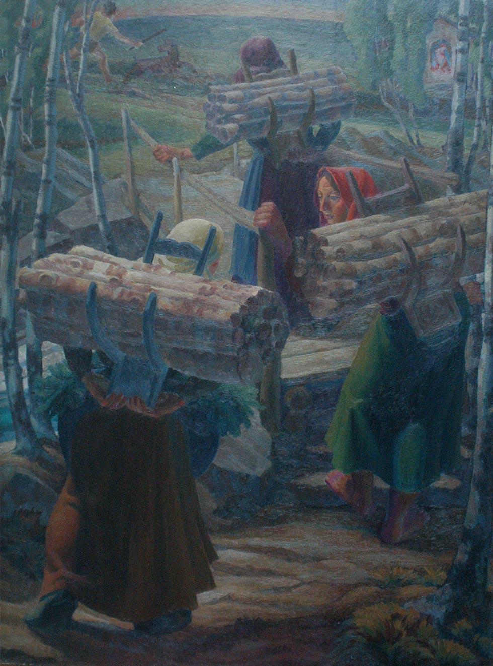 Les porteuses de bois. Peinture Robert Gallay