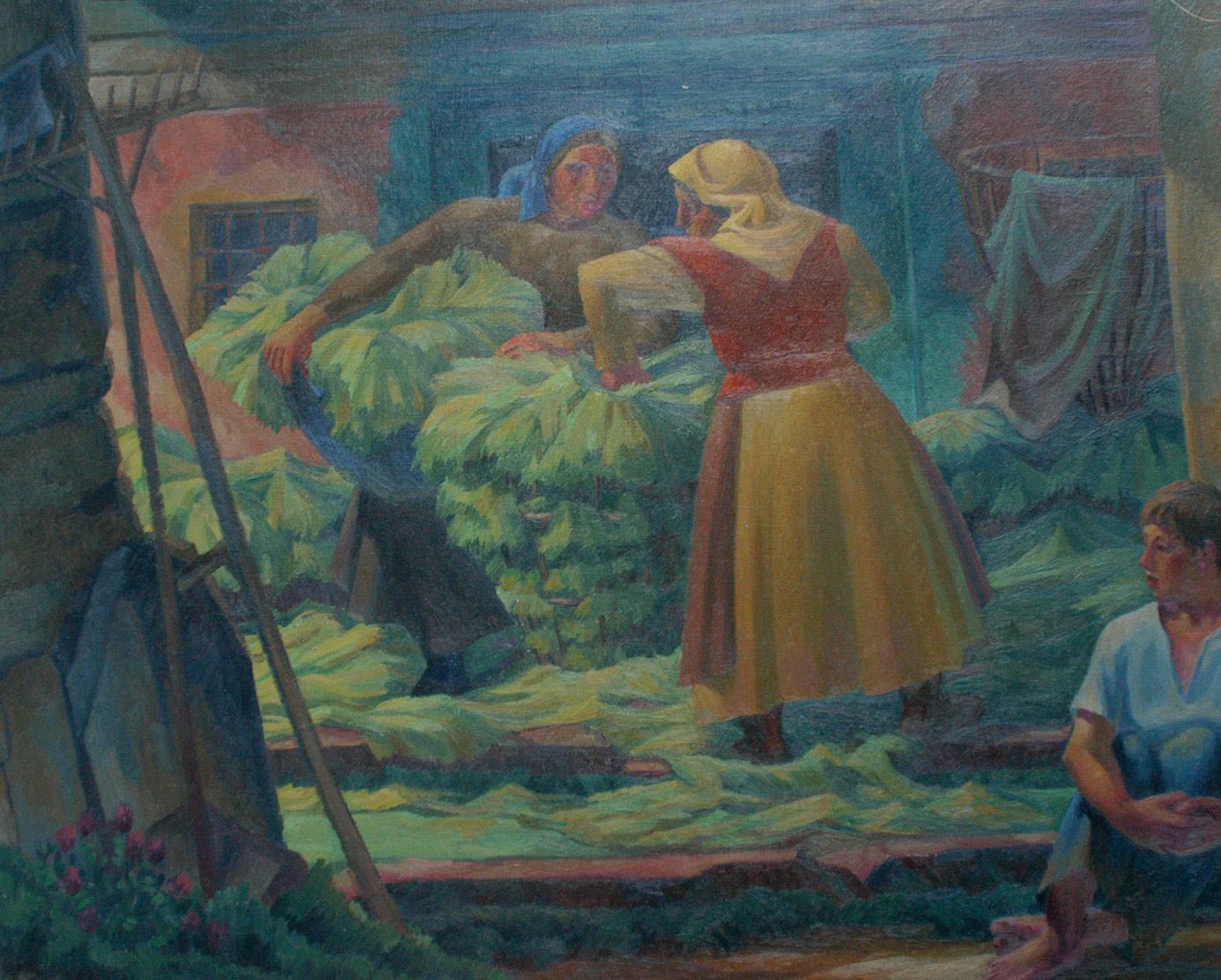 Femmes aux hottes. Peinture Robert Gallay