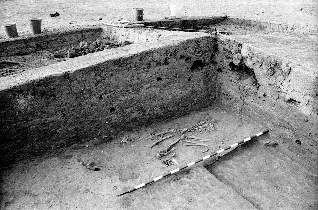 Fig. 1. Santhiou Kohel (Sénégal). Sépulture centrale du tumulus 43. Fouilles 1980-81. Photo A. Gallay.
