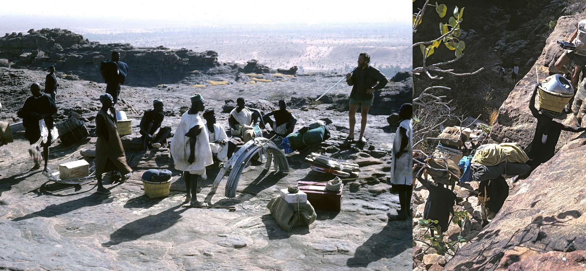 Descente de l'expédition Haan au pied de la Falaise