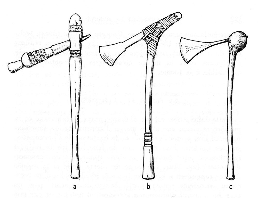 Fig. 9. Degrés de faits. Haches de Nouvelle Guinée, de Bornéo, et de Rhodésie. D'après Leroi-Gourhan 1965, fig. 110 a à c