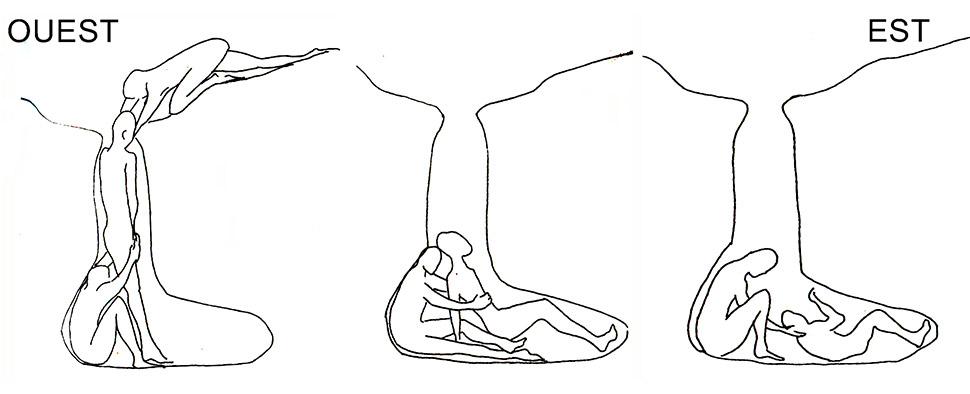 Fig. 3. Dépôt du corps du défunt dans la tombe. Croquis Dominique Sewane. Sewane 2003, p.216, 217 et 218. Schémas inversés par rapport à la publication pour être conformes à l'orientation.