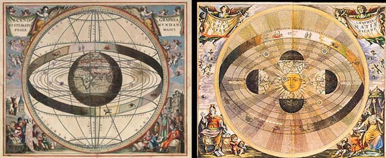 Fig. 3. L'hypothèse du sens du rayonnement est indifférente par rapport à l'établissement de lois mathématiques, tout comme l'adoption d'un point de vue géocentrique ou héliocentrique est indifférente tant qu'on en reste à une description purement mathématique de l'univers.