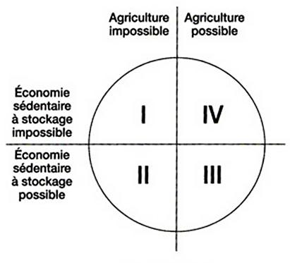 Fig. 2. Relations logiques entre stockage et agriculture (Testart, fig, 26).