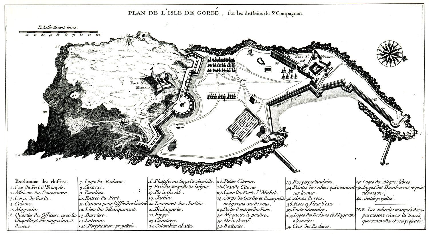 Plan de l'île de Gorée, une des plateforme du commerce atlantiqe des esclaves en 1677.