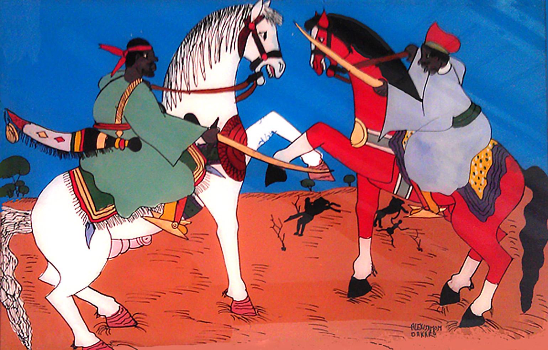 """Figure 1. Affrontement guerrier. """"Fixé"""" de Dakar, peinture sur verre, 1980."""