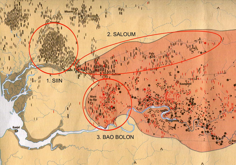 Fig. 2. Carte de la partie occidentale de l'aire mégalithique sénégambienne. 1. Bassin du Siin, tumulus de sable. 2, Bassin du Saalum, tumulus à pierres frontales dominant. 3. Bao Bolon : cercles et tumulus à pierres frontales. D'après l'Atlas national de Sénégal.