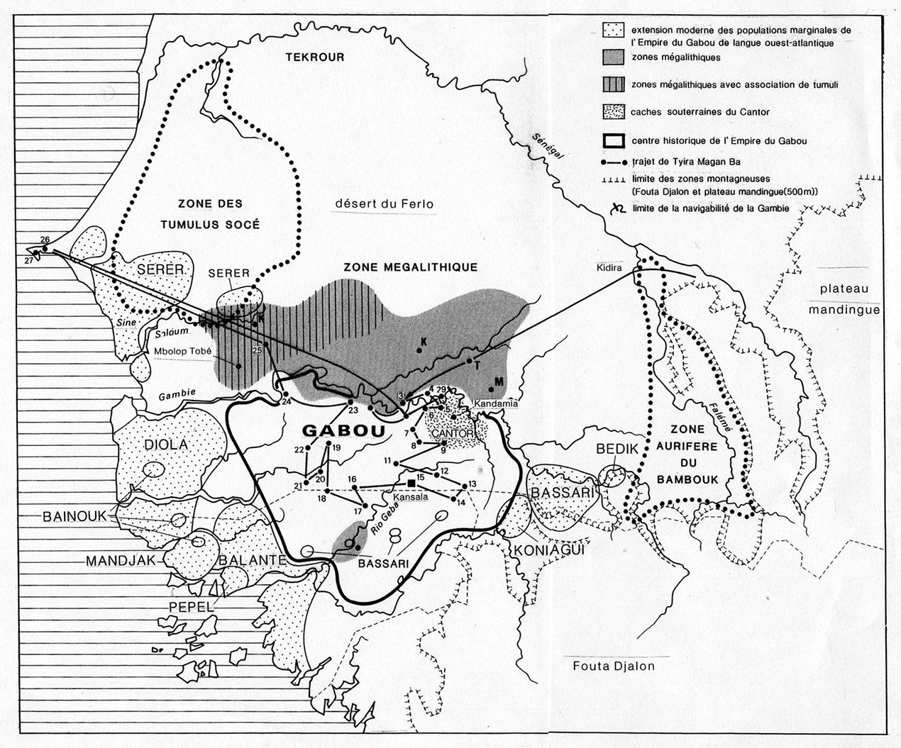 Fig.6. Carte de l'empire malinké du Gabou au sud de la Gambie et trajet suivi par Tyira Magan Ba (Carte établie d'après Girard 1992).