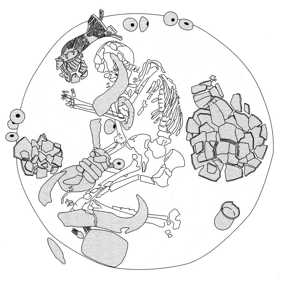 Fig. 11. Kadruka. Sépulture d'un homme d'une quarantaine d'année vers 4200 BCE localisée au centre du cimetière. Elle contenait 9 têtes de massues, 7 bracelets et deux peignes en ivoire d'hippopotame, 5 céramiques dont deux vases caliciformes, une palette à fard, une statuette féminine en grès et deux bucrânes (Honegger 2014, p. 40, d'après Reinold 2000).