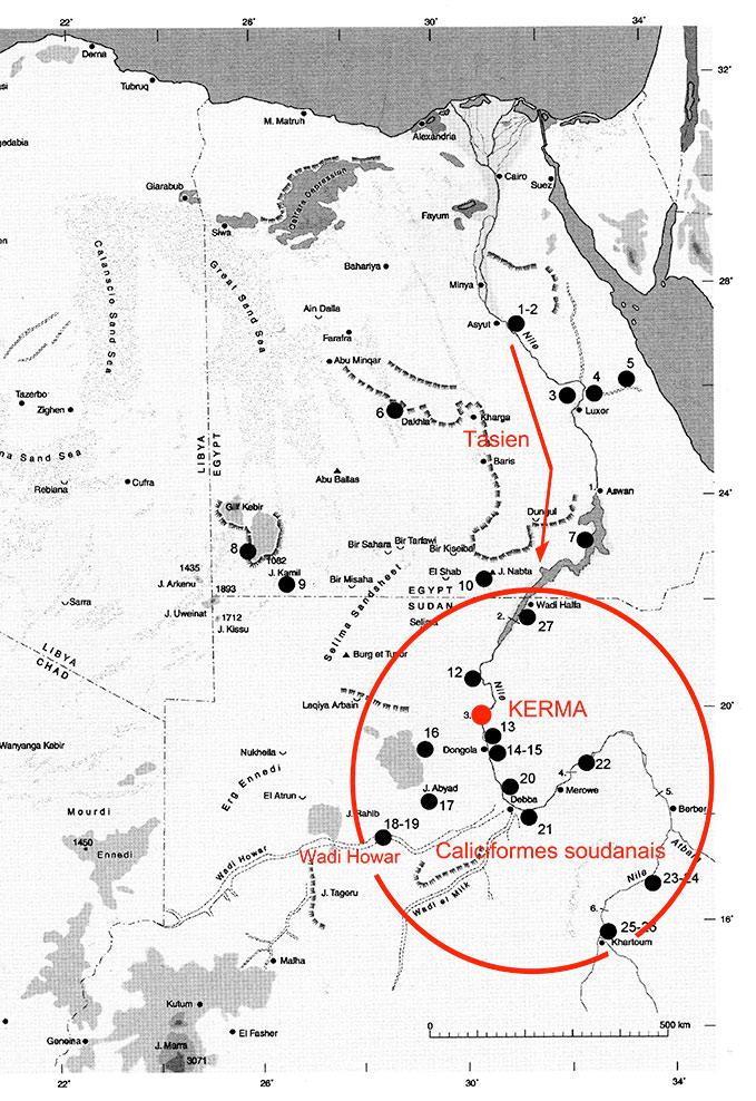 Fig. 13. Répartition des vases caliciformes (Jesse 2007, fig. 1) et surlignage en rouge Alain Gallay. La ville de Kerma peut être considérée comme l'aboutissement de l'évolution initiée dans la zone de diffusion de la céramique caliciforme.