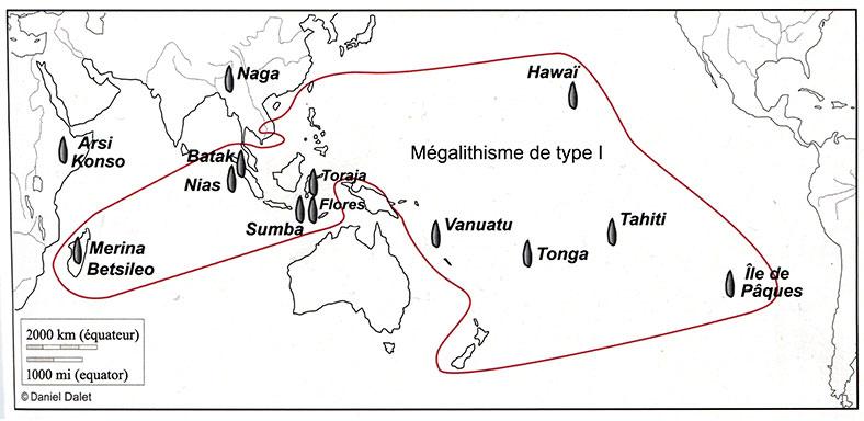 Fig. 5. Sociétés à mégalithes actuelles et subactuelles et aire de répartition des langues austronésiennes (CJ1, fig. 11). Fig. 5. Sociétés à mégalithes actuelles et subactuelles et aire de répartition des langues austronésiennes (CJ1, fig. 11).