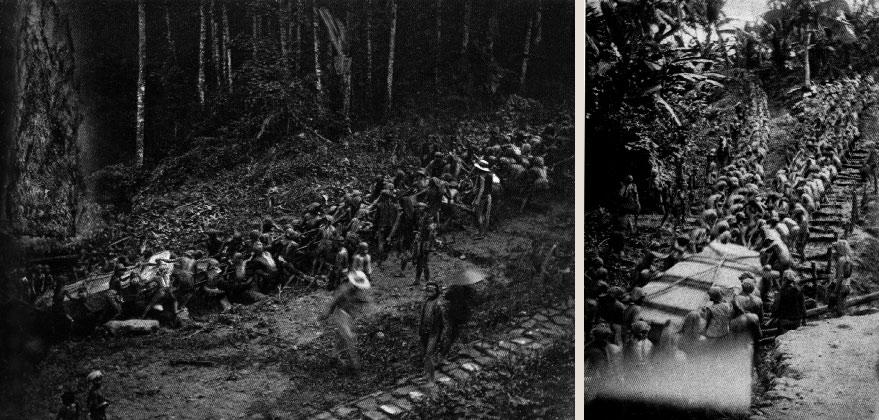 Fig. 6. Transport d'un mégalithe dans l'île de Nias vers 1910 (BB, fig. 10).