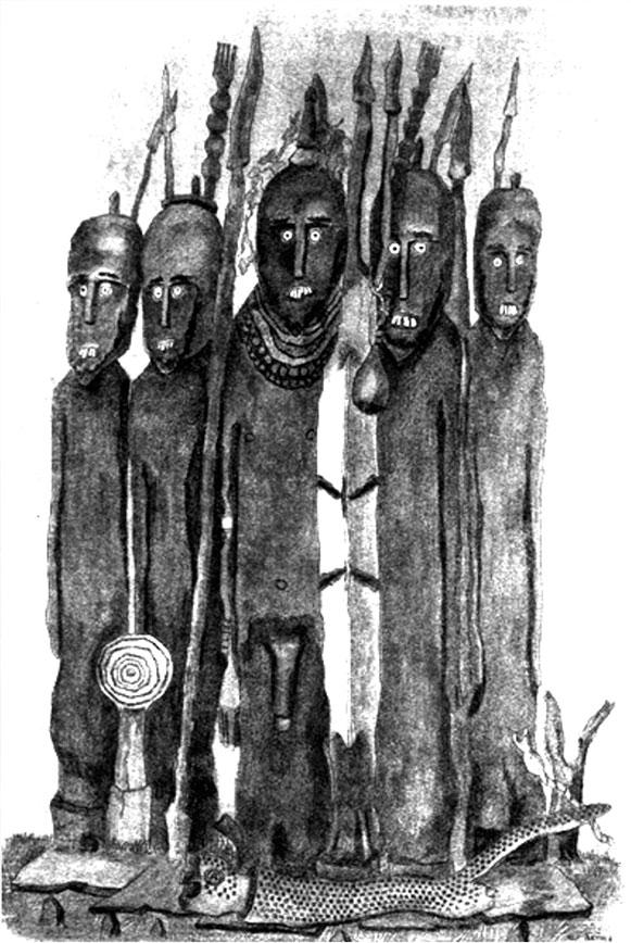 Fig. 10. Waaka hybride représentant un poqolla comme guerrier. Le poqolla se reconnaît à ses cinq bracelets portés au bras droit, à ses colliers et au xallasha surmontant sa tête. Le caractère guerrier et héroïque du waaka est accentué par la présence de lances, d'un bouclier, de personnages asexués représentant des ennemis tués et d'une dépouille de léopard déposée au pied du défunt. La présence d'une tige annelée décomptant les poqolla décédés illustre par contre le statut de chef spirituel du personnage de la sépulture (Jensen 1936, fig. 141).