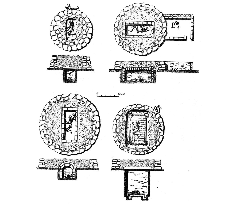 Fig. 2. Evolutions des tombes de l'horizon C. Type ancien en haut à gauche, type récent en bas à droite. Adams 1977, fig. 22.