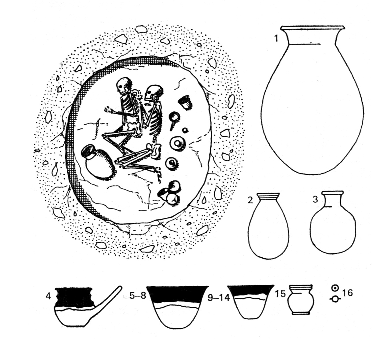 Fig. 3. Exemple de tombe Kerma et offrande de poteries. Adams 1977, fig. 29.