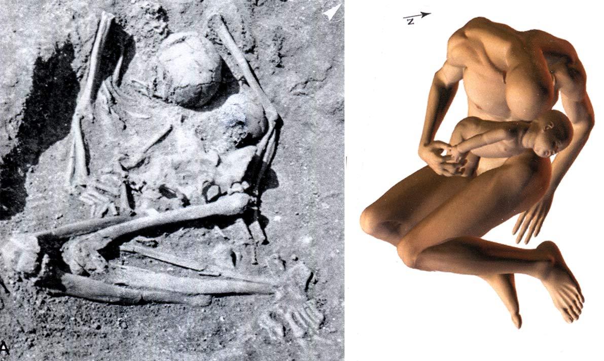 fig. 6. Téviec. Tombe double E, inhumation primaire réunissant un adulte mâle décédé entre 30 et 50 ans et un enfant décédé entre 1 an et 2 ans. Boulestin 2016, fig. 35 et 36.