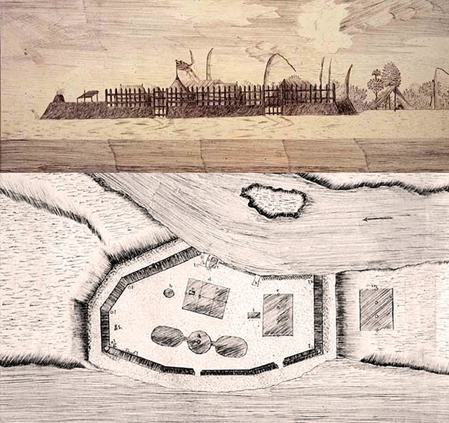 Fig. 10. Le fort établi par Cook à la Pointe Vénus, une construction prise pour un marae par les Polynésiens (http://www.captcook-ne.co.uk/ccne/themes/venus.htm).