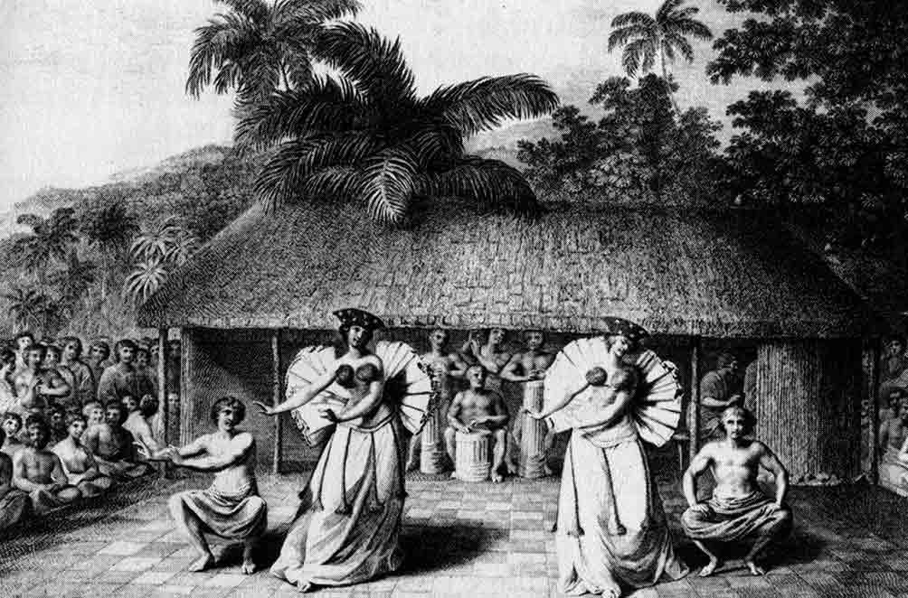 Fig. 11. Une des premières représentations de danses tahitiennes encore proches de la réalité. Les deux femmes portent des collerettes plissées de tapa. Danse observée par les Anglais (Webber 3ème voyage de Cook). (Tcherkézoff, p. 517).