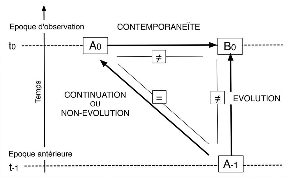 Fig. 12. Problématique de l'ethnologie évolutionniste. Le schéma ne s'applique pas aux sociétés dans leur globalité mais aux particularités culturelles prises séparément (Testart 2012, fig. 1).