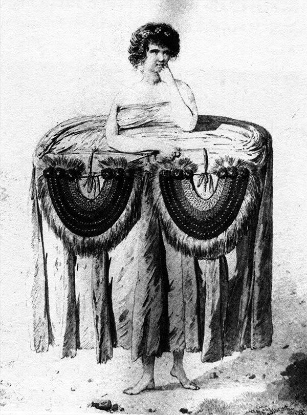 Fig. 16. Une jeune fille tahitienne portant un imposant tapa enroulé autour de la taille. Weber, troisième voyage de Cook (Tcherkézoff, p. 520).