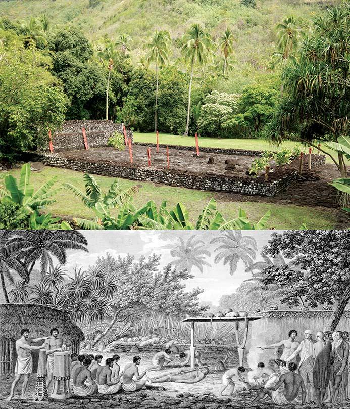 Fig. 18. En haut: un marae restauré dédié au dieu de la guerre Oro (https://welcome-tahiti.com/fr/le-too-du-dieu-polynesien-oro-ambassadeur-de-tahiti-a-new-york/).