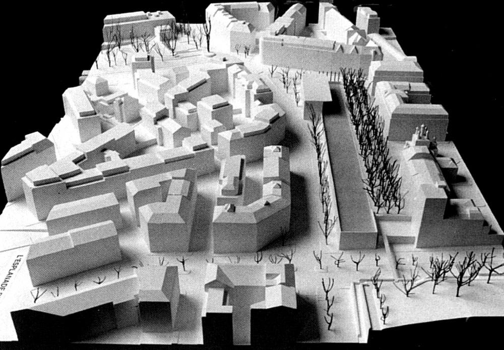 Fig. 1. Maquettes de premier projet de nouveau musée d'ethnographie « L'esplanade des mondes » à l'emplacement de la place Sturm, du Bureau lausannois de MM. Hunger, Monnerat et Petitpierre (Journal du Musée d'ethnographie de Genève, 19, 1997).