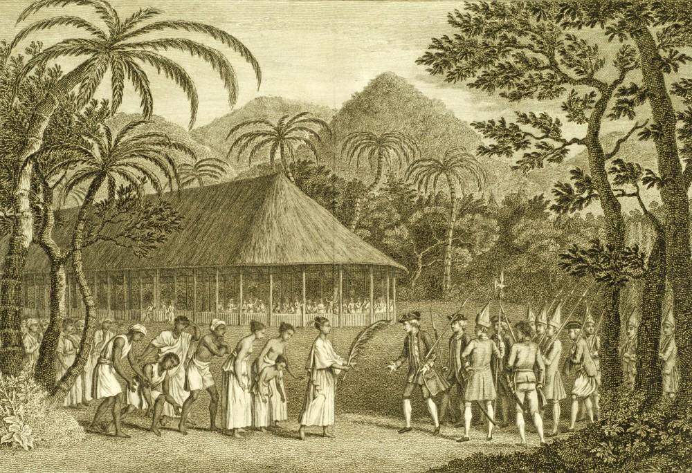 Fig. 2. Réception de Samuel Wallis par la reine Oberea. La palme brandie signale le caractère solennel et quasi rituel de la rencontre (archives).