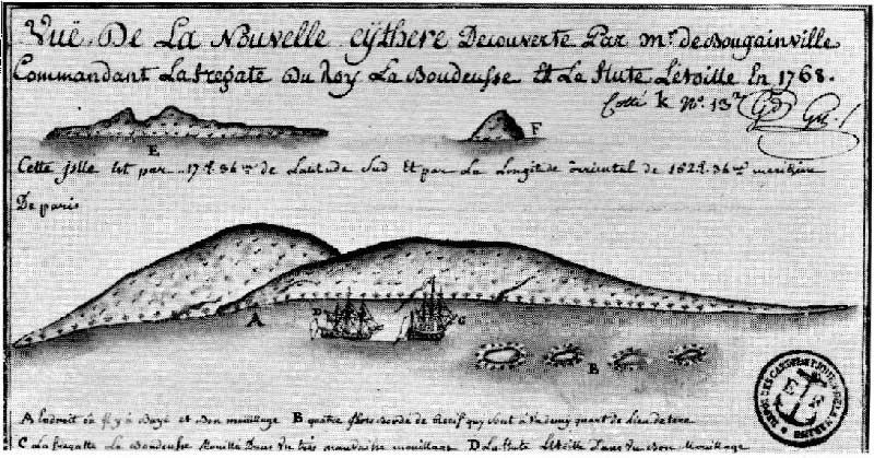 Fig. 3. Croquis du mouillage des deux vaisseaux de Bougainville La Boudeuse et l'Etoile en 1768. Manuscrit de Philibert Commerson http://www.tehoanotenunaa.com/2017/02/bougainville-a-tahiti.html.