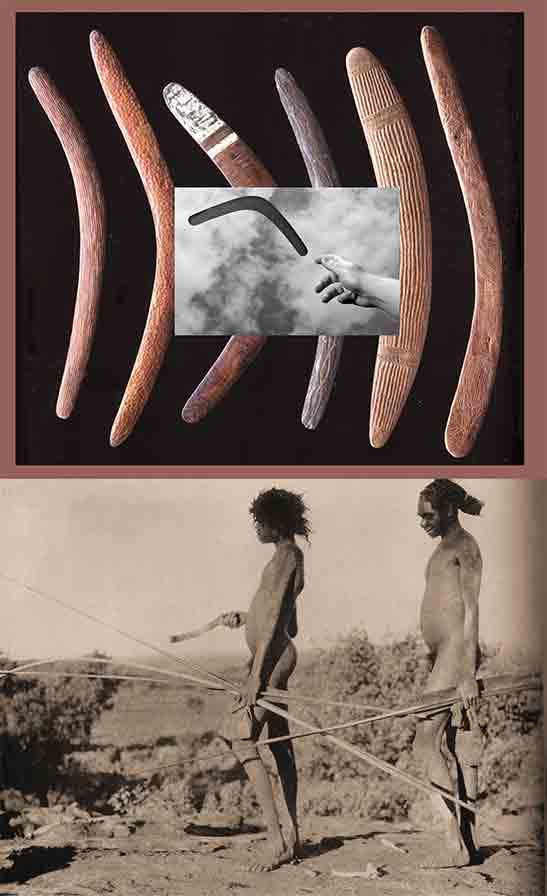 Fig. 3. Boomerangs (Colombo-Dougoud (éd.) 2017, p. 11) et deux chasseurs aborigènes avec ses armes évoquant deux stratégies de chasse distinctes : à gauche, avec boomerang et sagaies, à droite, avec propulseur et sagaies. (http://agoras.typepad.fr/.a/6a00d8341ce44553ef0120a7e34c7d970b-pi)