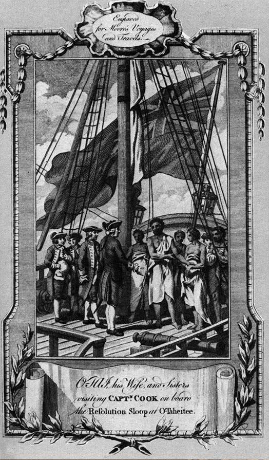 Fig. 3. Croquis du mouillage des deux vaisseaux de Bougainville La Boudeuse et l'Etoile en 1768. Manuscrit de Philibert Commerson (http://www.tehoanotenunaa.com/2017/02/bougainville-a-tahiti.html).