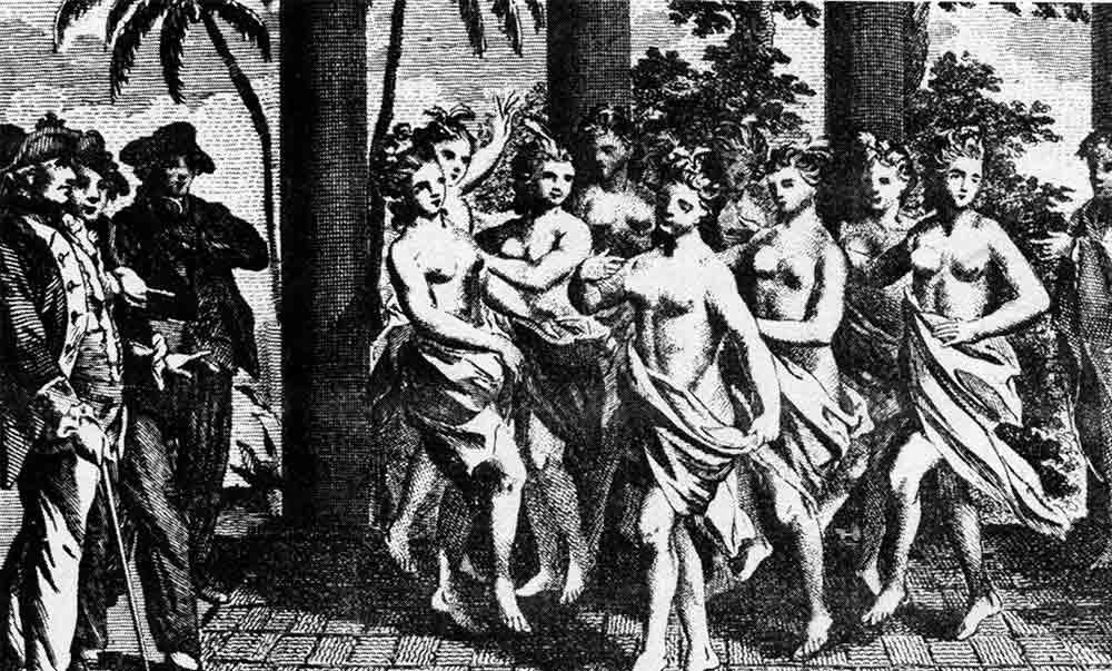 Fig. 5. Réception de Cook lors de son troisième voyage. Récit anonyme du troisième voyage, 1781. Le cliché des danses lascives de la Nouvelle Cythère est désormais installé (Tcherkézoff 2010).