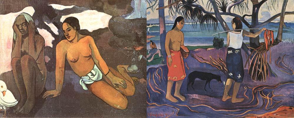 Fig. 7. Paul Gauguin : deux peintures de femmes de Tahiti. La scène de gauche est extraite de la grande toile en forme de testament spirituel « D'où venons nous ? Que sommes-nous ? Où allons nous », peinte en 1897 (de Estienne 1953).