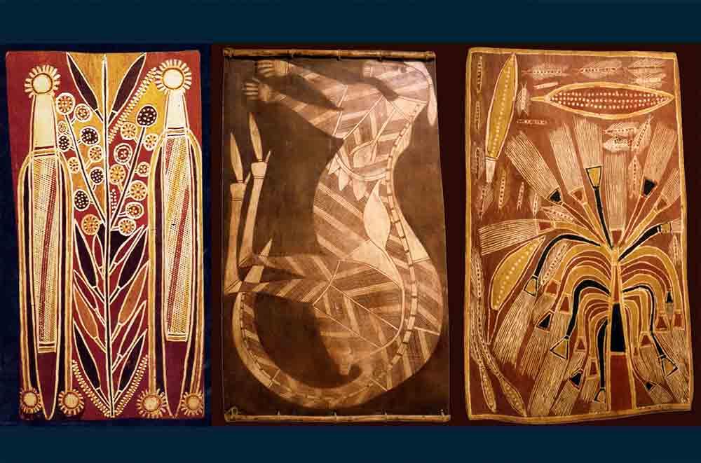 Fig. 7. Trois écorces peintes collectées par Karel Kupka pour le Musée des Arts d'Afrique et d'Océanie et vendues en 1995 (http://www.aaoarts.com/oceanie/expoc/).