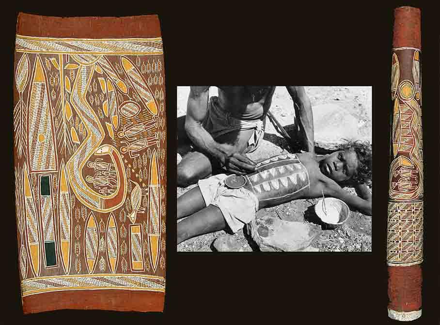 Fig. 8. De gauche à droite : peinture sur écorce, peinture corporelle et peinture sur une urne funéraire. A gauche et à droite : illustrations du mythe des deux sœurs Wavilak (de Largy Healy 2010, fig. 6 et 7). Au centre : https://fr.pinterest.com/pin/557320522611472636/