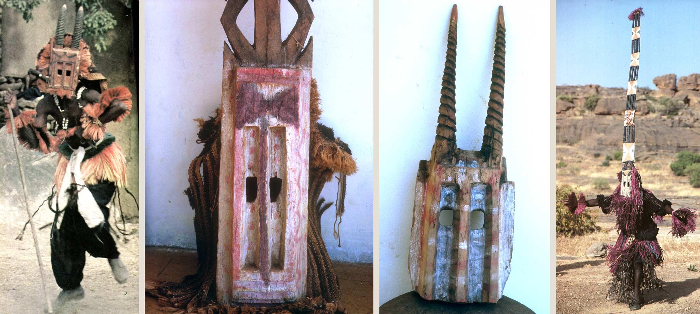 Fig. 5. Masques dogon. A gauche: masque wilu, antilope, à droite, masque Sirige, maison à étages. Collections de l'Ancien musée de l'Arboretum de Bamako 1962. Photo A. Gallay pour les deux masques..