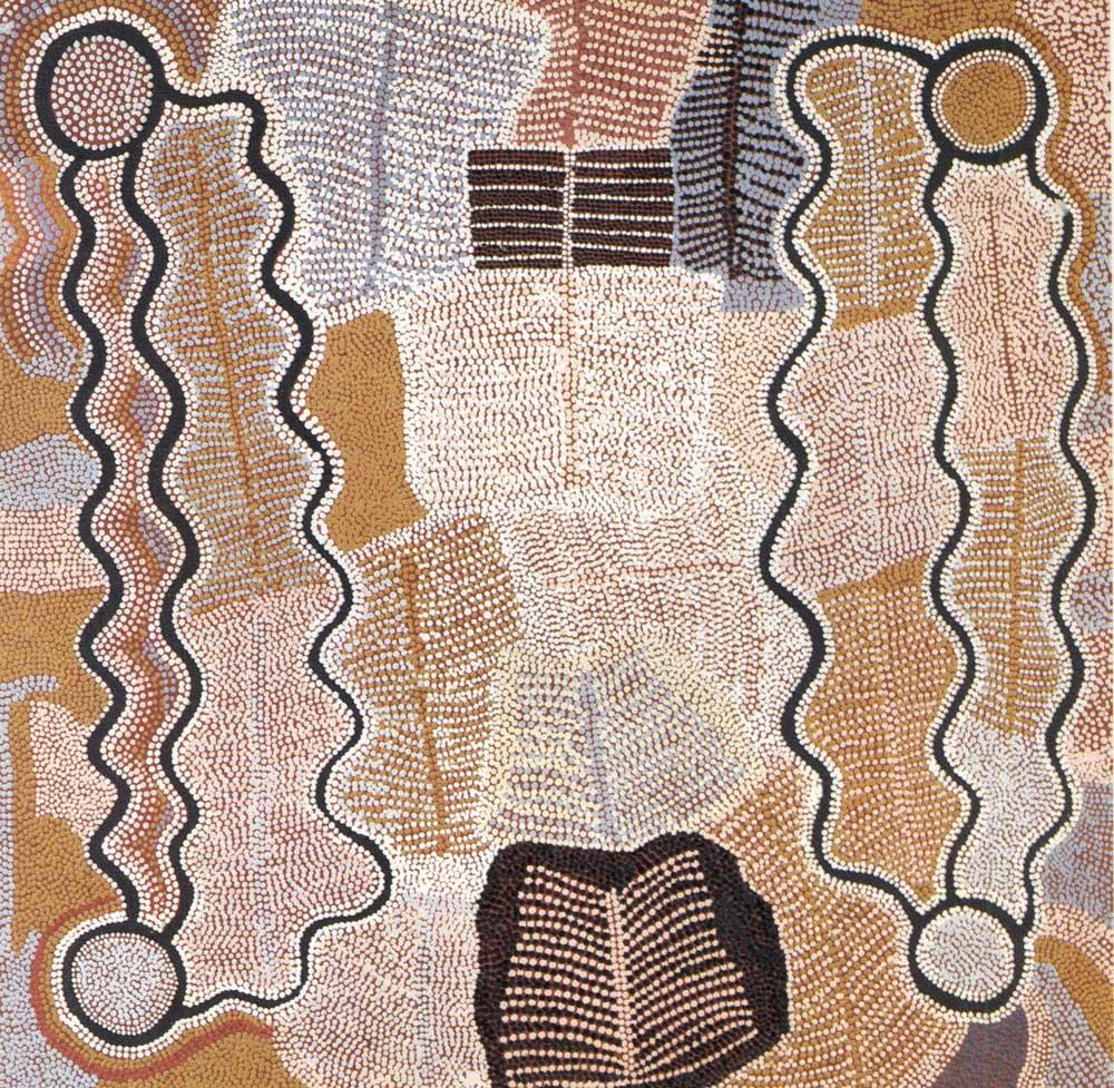 Désert central. Peinture acrylique sur toile de Maggi Napangardi Watson 1990 : le rêve de la liane serpent. Cette peinture décrit le voyage d'un groupe de femmes qui marchèrent vers l'Est, à la recherche de nourriture, en cueillant des lianes serpents, en organisant des cérémonies, en établissement des campements le long du chemin. Les cercles représentent les lieux importants du voyage. Les parties hachurées figurent les cordelettes de cheveux portées par les femmes. Dussart 1993, p. 83.