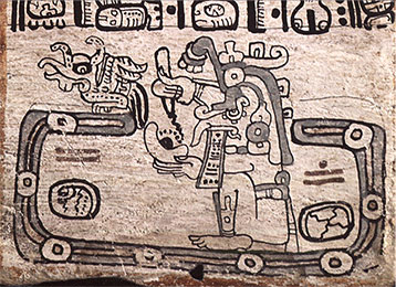Codex maya de Madrid ou Tro-Cortesianus. Le dieu B, probablement dieu de la pluie, Chac, écrit le destin des hommes. Taladoire 2012. p.100 et Baudez 2002, fig.3.12.