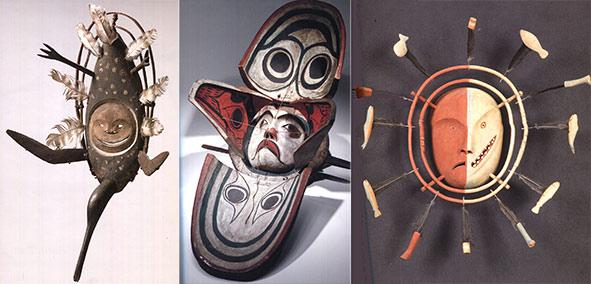 Masques Yup'ik (à gauche et à droite) et Kwakiutl (au centre). Descola 2010-2012, fig. 5, 11et 13.