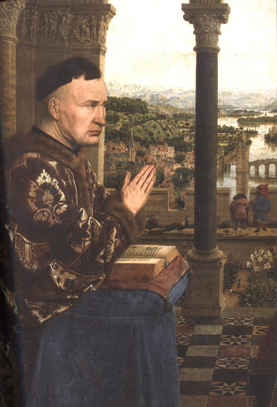 L'autonomie du paysage comme arrière fond dans la peinture flamande. .Jan van Eyck, vers 1435. Descola 2010-2012, fig. 50.