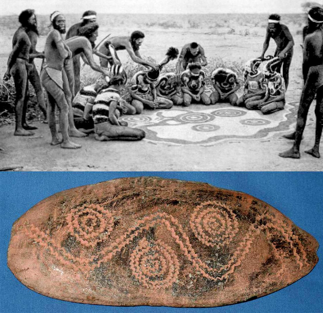 Désert central. Peinture sur sable (photo Elkin) et churinga.