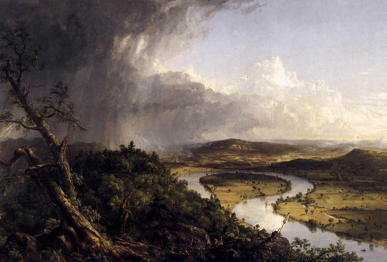 Thomas Cole, Le méandre 1836. Le peintre et son chevalet ainsi que son bagage posé sur un rocher apparaissent au premier plan.