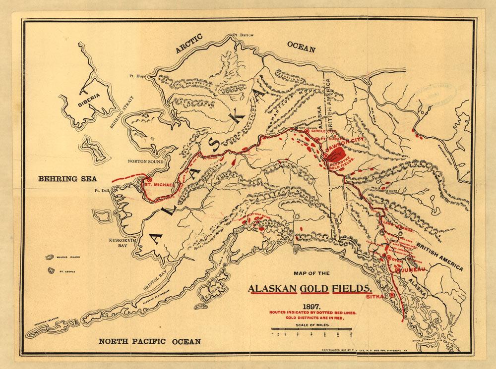 Fig. 9. Carte des zones aurifères d'Alaska. Le Klondike se trouve sur territoire canadien à la frontière de l'État d'Alaska (tache rouge). Les gisements d'or se prolongent à l'ouest le long de la vallée du Yukon.