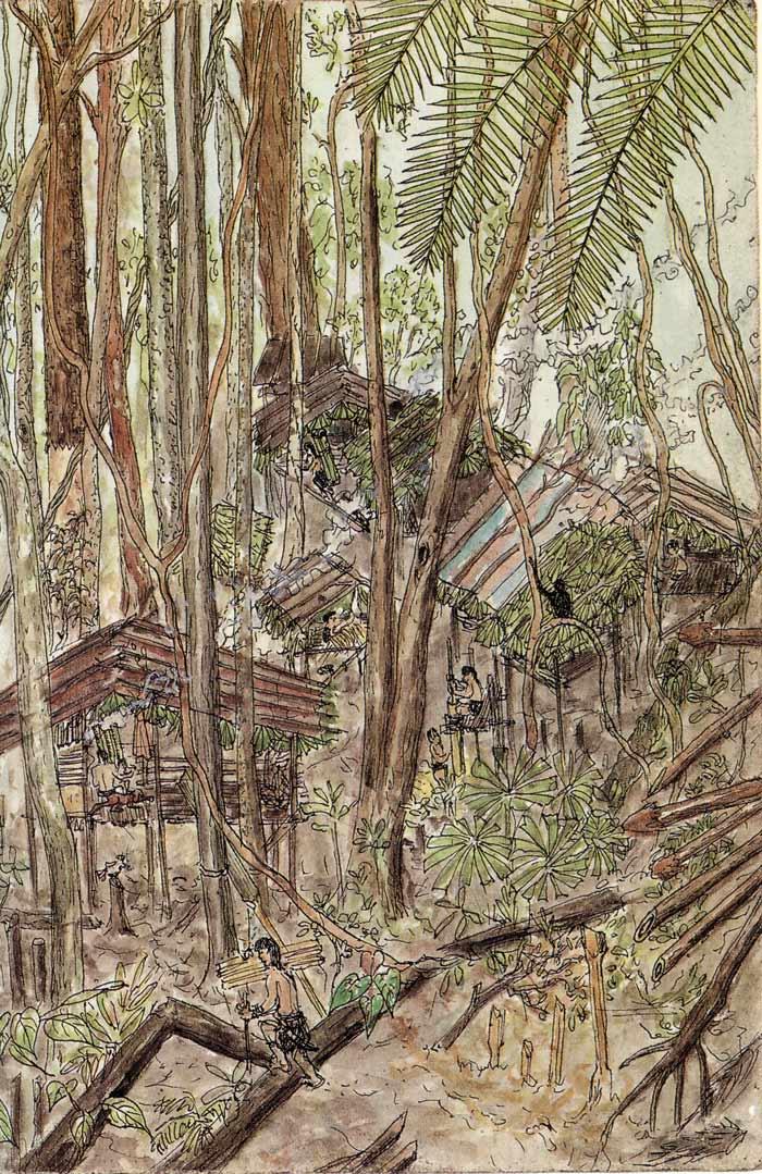 Fig. 1. Campement penan dans la forêt (Sarawak, Bornéo). Dessin Bruno Manser (1992).