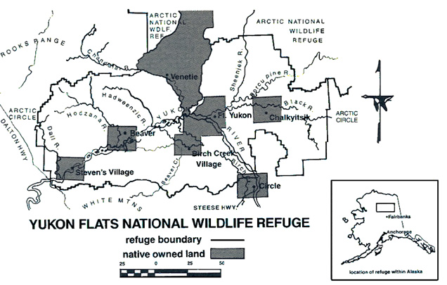 Fig. 14. Superposition des territoires attribués aux populations autochtones et réserve naturelle du National Yukon Flats National Wildlife Refuge dans la vallée du Yukon. https://www.researchgate.net/publication/227160059_Implications_of_Fire_Policy_on_Native_Land_Use_in_the_Yukon_Flats_Alaska/figures?lo=1