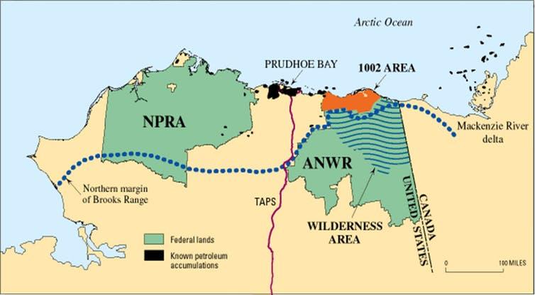 Fig. 23. Le contentieux de l'aire 1002, une région retirée par Donald Trump d'une zone de réserve de vie sauvage pour être livrée à la prospection pétrolière. https://www.instituteforenergyresearch.org/fossil-fuels/gas-and-oil/alaskas-northern-coastal-plain-npr-a-prudhoe-bay-and-anwr/