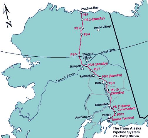 Fig. 13. L'oléoduc trans-alaska mis en service en 1977 sur une longueur de 1288 km a une capacité de transport de près de 350.00 m3 par jour. https://fr.wikipedia.org/wiki/Oléoduc_trans-Alaska